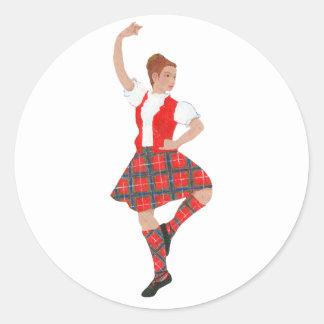 Scottish Highland Dancer Fraser Tartan Classic Round Sticker