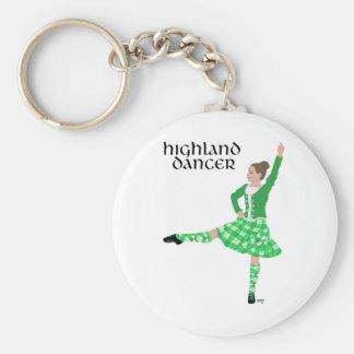 Scottish Highland Dancer Green Basic Round Button Keychain
