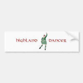 Scottish Highland Dancer Green Bumper Sticker