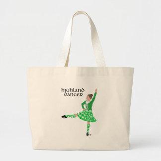 Scottish Highland Dancer Green Jumbo Tote Bag