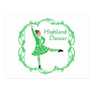 Scottish Highland Dancer - Green Postcard