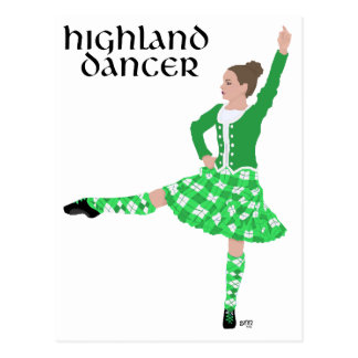 Scottish Highland Dancer Green Postcard