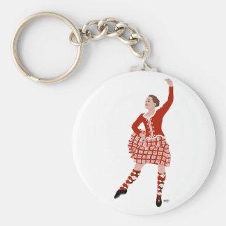 Scottish Highland Dancer in Red Basic Round Button Keychain