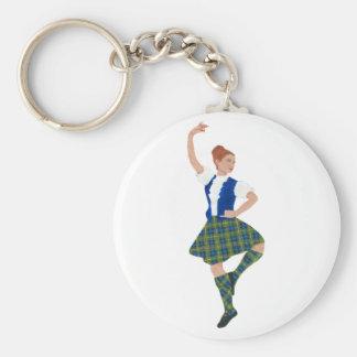 Scottish Highland Dancer MacLaren Tartan Basic Round Button Keychain