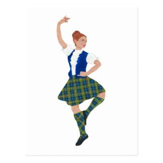 Scottish Highland Dancer MacLaren Tartan Postcard