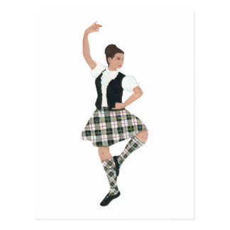 Scottish Highland Dancer MacPherson Tartan Postcard