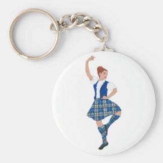 Scottish Highland Dancer Nevil Tartan Basic Round Button Keychain