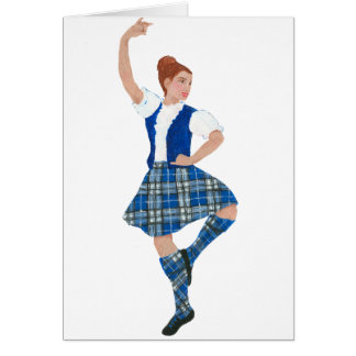 Scottish Highland Dancer Nevil Tartan Card