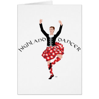 Scottish Highland Dancer Red and Black Greeting Card
