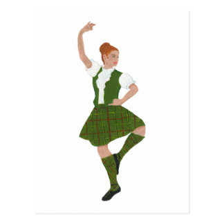 Scottish Highland Dancer Tribe of Mar Tartan Postcard