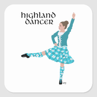 Scottish Highland Dancer - Turquoise Square Sticker