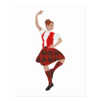 Scottish Highland Dancer Wallace Tartan Postcard