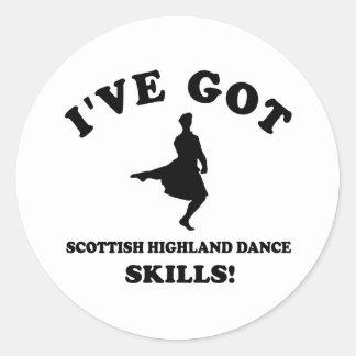Scottish Highland dancing designs Classic Round Sticker
