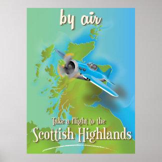 Scottish Highlands vintage flight poster