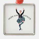 Scottish Higland Dancer - Fling Square Metal Christmas Ornament