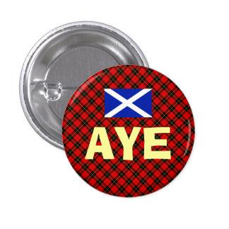 Scottish Independence Aye Wallace Tartan Badge Button