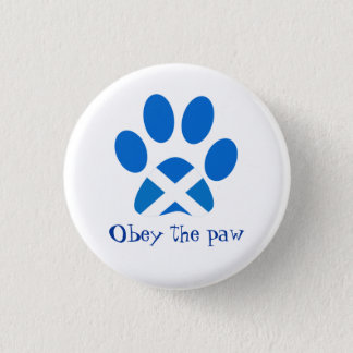 Scottish Independence Cat Paw Print Saltire Badge Button
