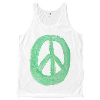 Scottish Independence Green CND No Nukes Symbol All-Over-Print Tank Top