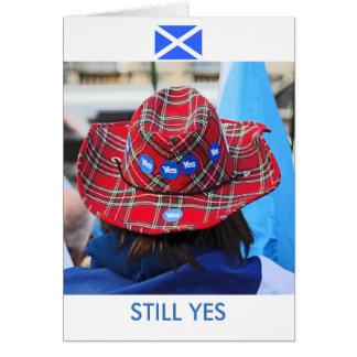 Scottish Independence Tartan Yes Hat Card
