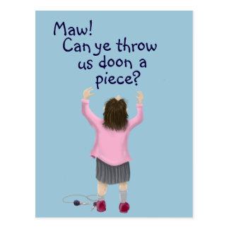 Scottish 'jeely piece' kid postcard