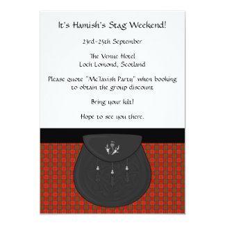 Scottish Kilt and Sporran Stag Weekend Party 5x7 Paper Invitation Card