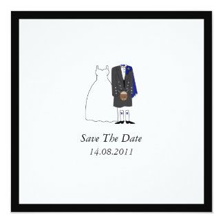 Scottish Kilt Bride & Groom Blue Save the Date Card