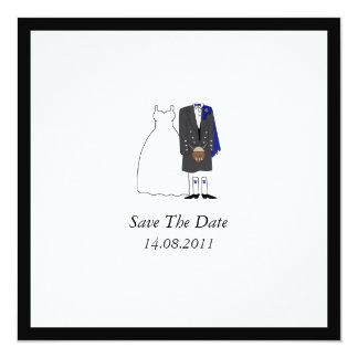 Scottish Kilt Bride & Groom Blue Save the Date 5.25x5.25 Square Paper Invitation Card