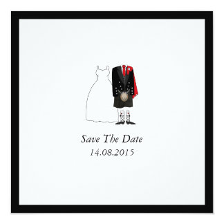 Scottish Kilt Bride & Groom Save the Date - red Card