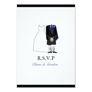 Scottish Kilt Bride & Groom Wedding RSVP -Blue Card