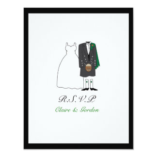 Scottish Kilt Bride & Groom Wedding RSVP -green Card