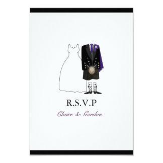 Scottish Kilt Bride & Groom Wedding RSVP -purple Card