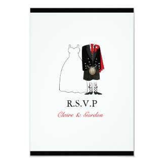 Scottish Kilt Bride & Groom Wedding RSVP - red Card
