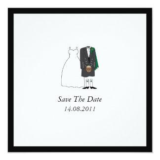Scottish Kilt Bride & Groom Wedding Save the Date Card