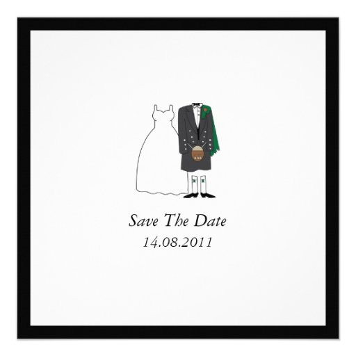 Scottish Kilt Bride & Groom Wedding Save the Date Custom Invitations