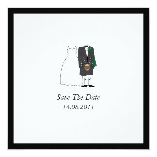 Scottish Kilt Bride & Groom Wedding Save the Date 5.25x5.25 Square Paper Invitation Card