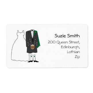 Scottish Kilt Wedding Return Address Labels