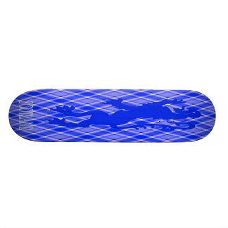 Scottish Lion Rampant on Blue & White Tartan Skateboard Deck