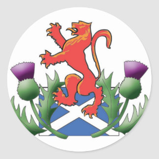 Scottish Lion Rampant with Saltire and Thistles Classic Round Sticker