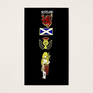 Scottish Lion, Thistle, Flag and Piper in Tartan Business Card