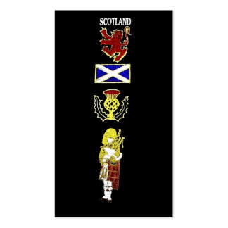 Scottish Lion, Thistle, Flag and Piper in Tartan Business Card Templates