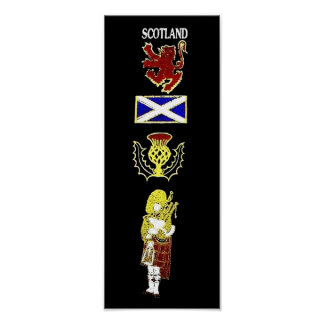 Scottish Lion, Thistle, Flag and Piper in Tartan Poster