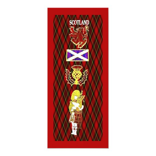 Scottish Lion,Thistle,Flag and Piper on Red Tartan 4x9.25 Paper Invitation Card