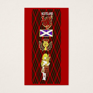 Scottish Lion,Thistle,Flag and Piper on Red Tartan Business Card
