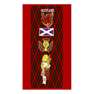 Scottish Lion,Thistle,Flag and Piper on Red Tartan Business Card Template