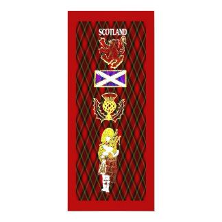 Scottish Lion,Thistle,Flag and Piper on Red Tartan Card