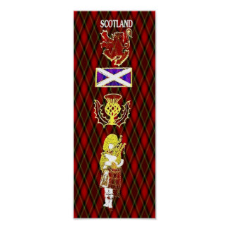 Scottish Lion,Thistle,Flag and Piper on Red Tartan Poster