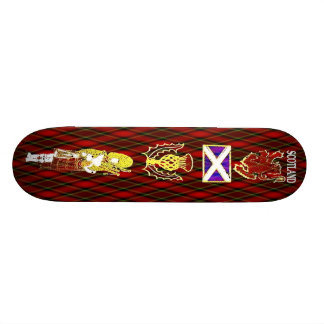 Scottish Lion,Thistle,Flag and Piper on Red Tartan Skateboard
