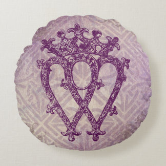 Scottish Luckenbooth Purple Celtic Knot Round Pillow