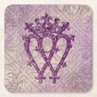 Scottish Luckenbooth Purple Celtic Knot Square Paper Coaster