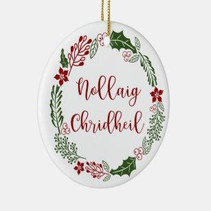 Scottish Gaelic Language Christmas Scottish Merry Christmas 4 Pack Rustic /'Nallaig Chridheil/' Button Bauble Christmas Card Set Multipack